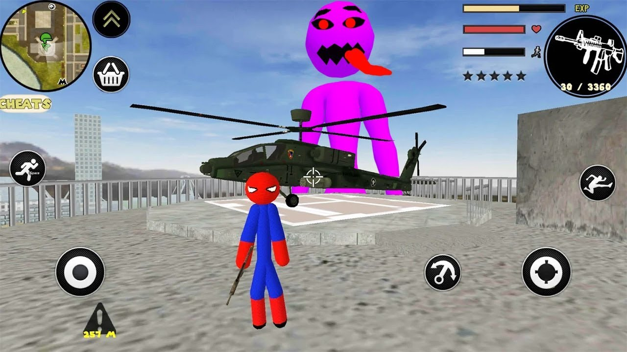 SPIDER STICKMAN ROPE HERO GANGSTAR CRIME – Walkthrough Gameplay Part 1 (Stickman Android Game)