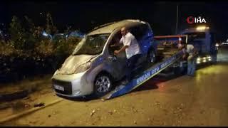 Takla atan araç sürüklenerek durdu
