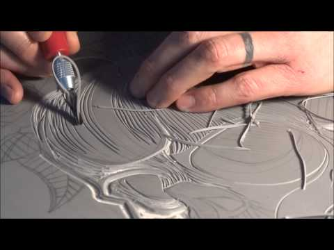 Skull n roses. time-lapse linocut limited edition.