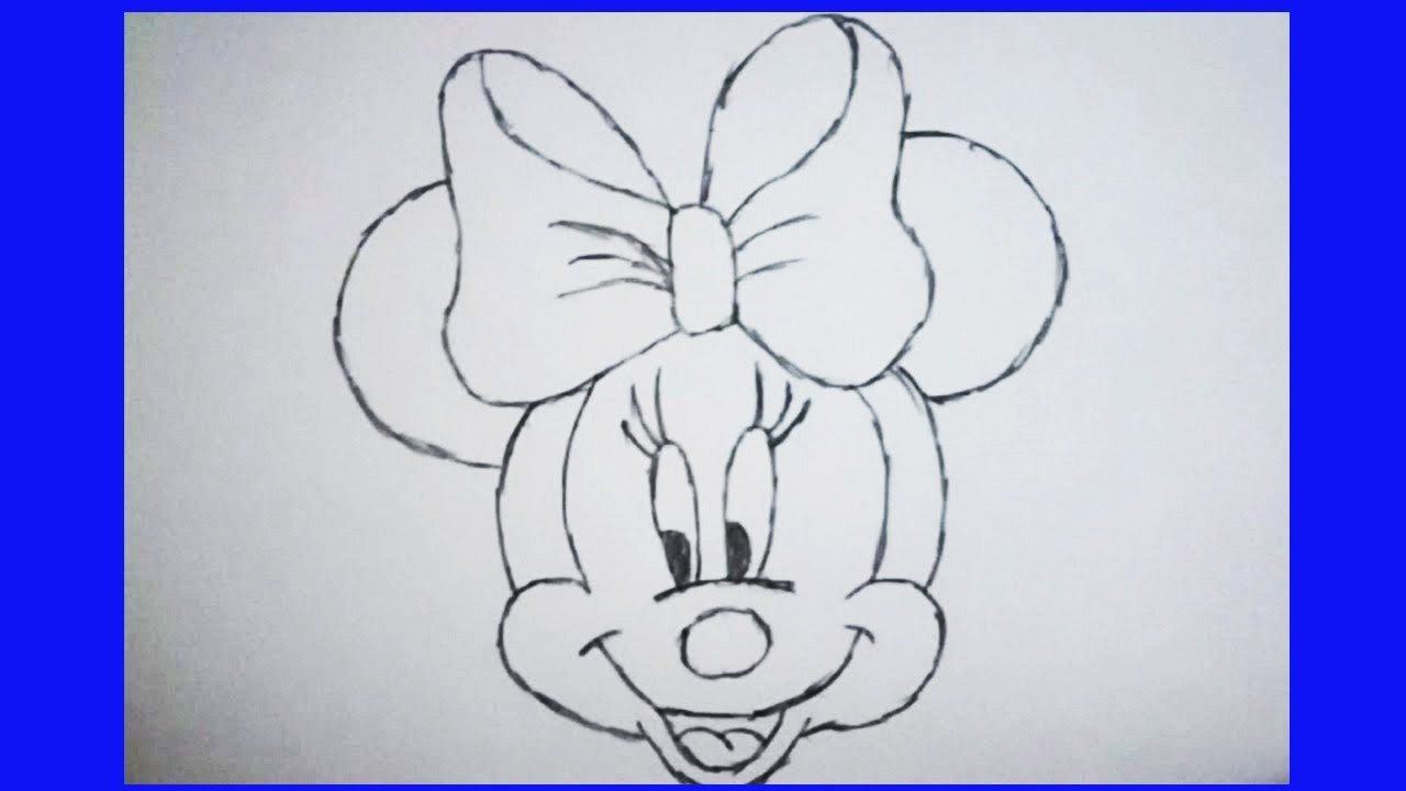 Minnie Mouse Face Drawing Youtube