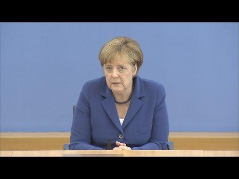 """Angela Merkel in der Bundespressekonferenz: Kanzlerin hält an """"Wir schaffen das"""" fest"""
