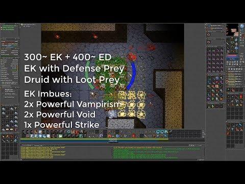 Tibia 300EK+400ED 1h Deep Desert. 5.5kk/h and 750k profit each