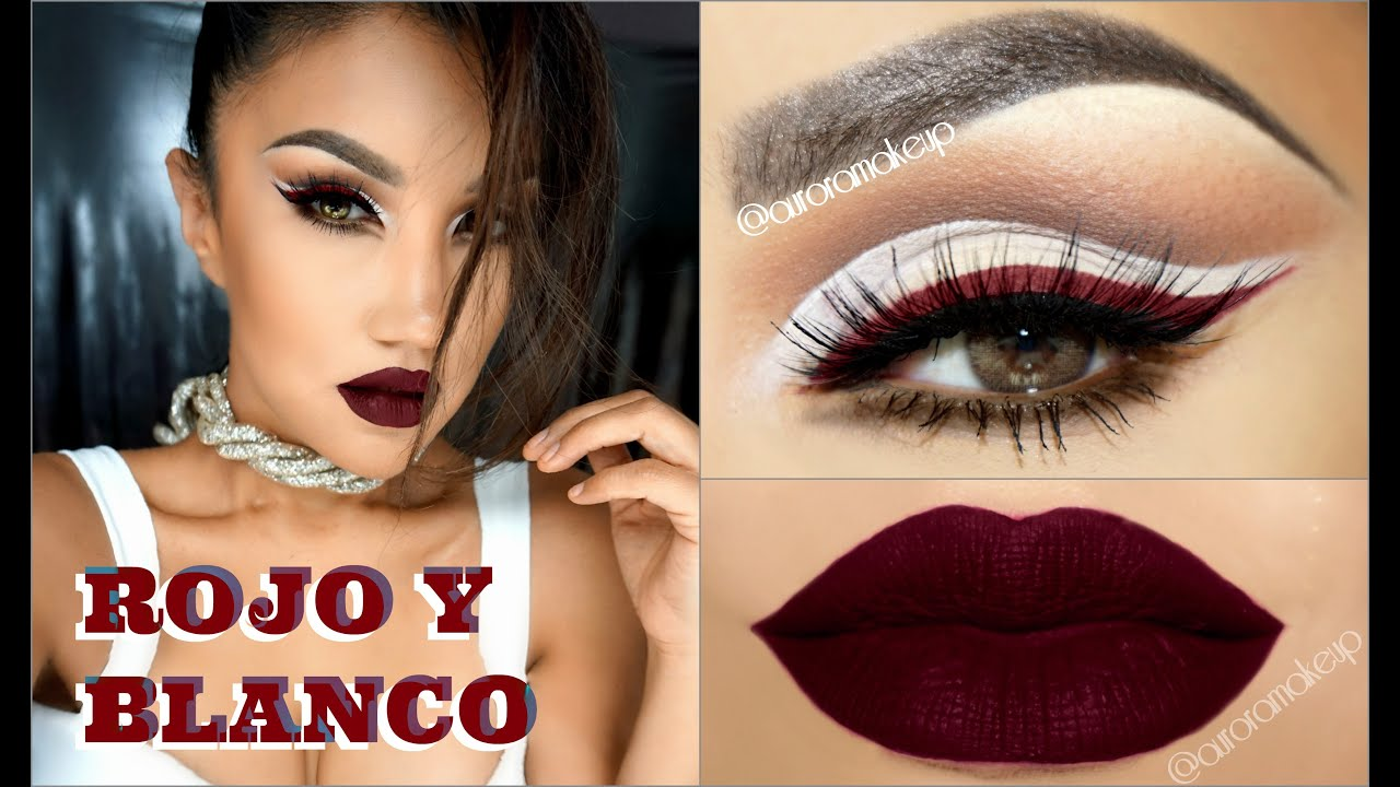 Maquillaje Delineado BLANCO Y ROJO INTENSO / BOLD RED  WHITE makeup ,@auroramakeup