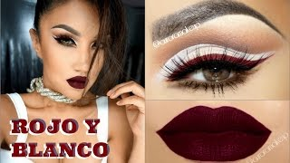 Maquillaje Delineado BLANCO Y ROJO INTENSO / BOLD RED & WHITE makeup -@auroramakeup