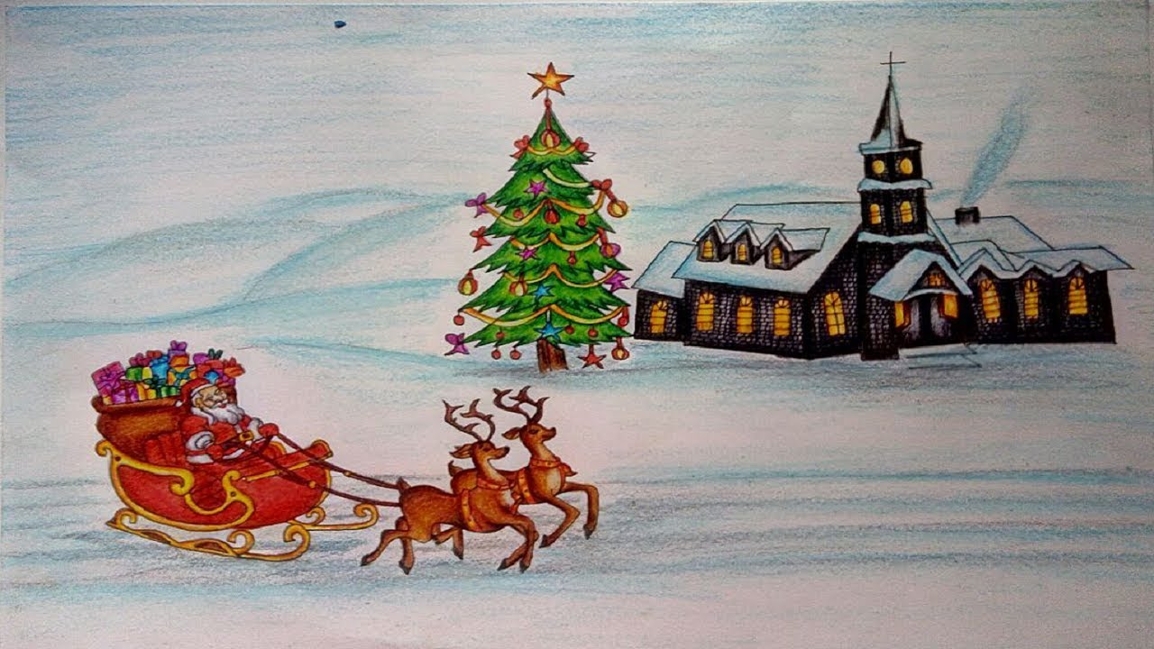 Christmas Scene Drawing.Christmas Drawings How To Draw A Christmas Scene Step By Step Christmas Tree Drawing Lessons