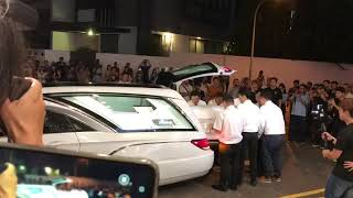 Aloysius Pang's casket arrives at MacPherson where the wake is being held