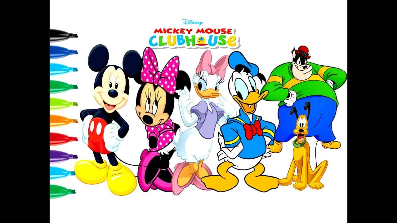 Easy Drawing Tutorial Mickey Mouse Club House Kids Coloring Book Page