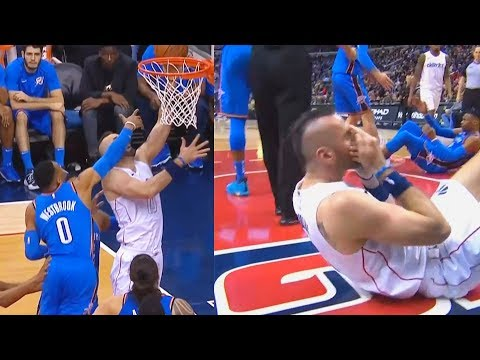 Russell Westbrook SLAPPING Marcin Gortat IN THE FACE!