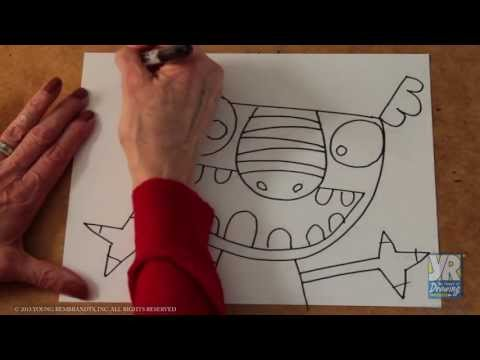 Teaching Kids to Draw: How to Draw a Monster