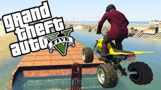 GTA 5 Online Funny Moments - ATV WATER PARKOUR!