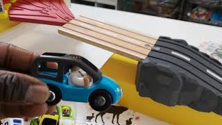 Toy Cars Slide,  Car, Fire, Tow Truck - Crashing Into Garage, Learn Transportation Vehicles,  Names