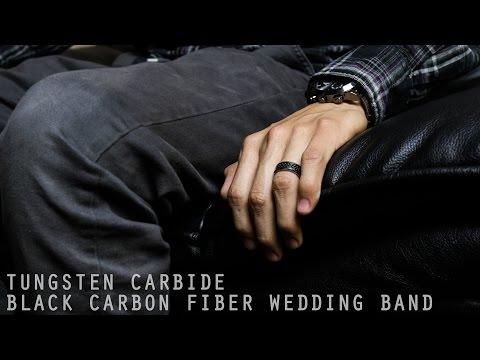 Mens Tungsten Carbide Black Carbon Fiber Wedding Band Ring