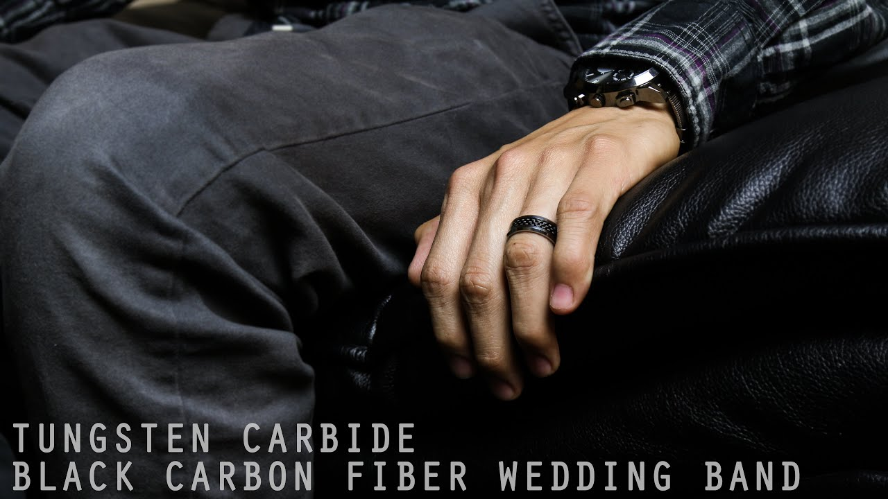 mens tungsten carbide black carbon fiber wedding band ring youtube