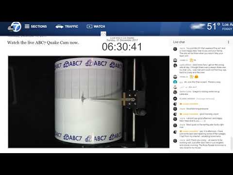 Trabucco Canyon 2.6 - Lossy  ABC7 Seismograph Drum For Los Angeles Rewind