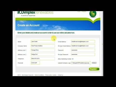 Creating an account with Dimplex Renewables - Heat Pumps, Solar and SmartRads