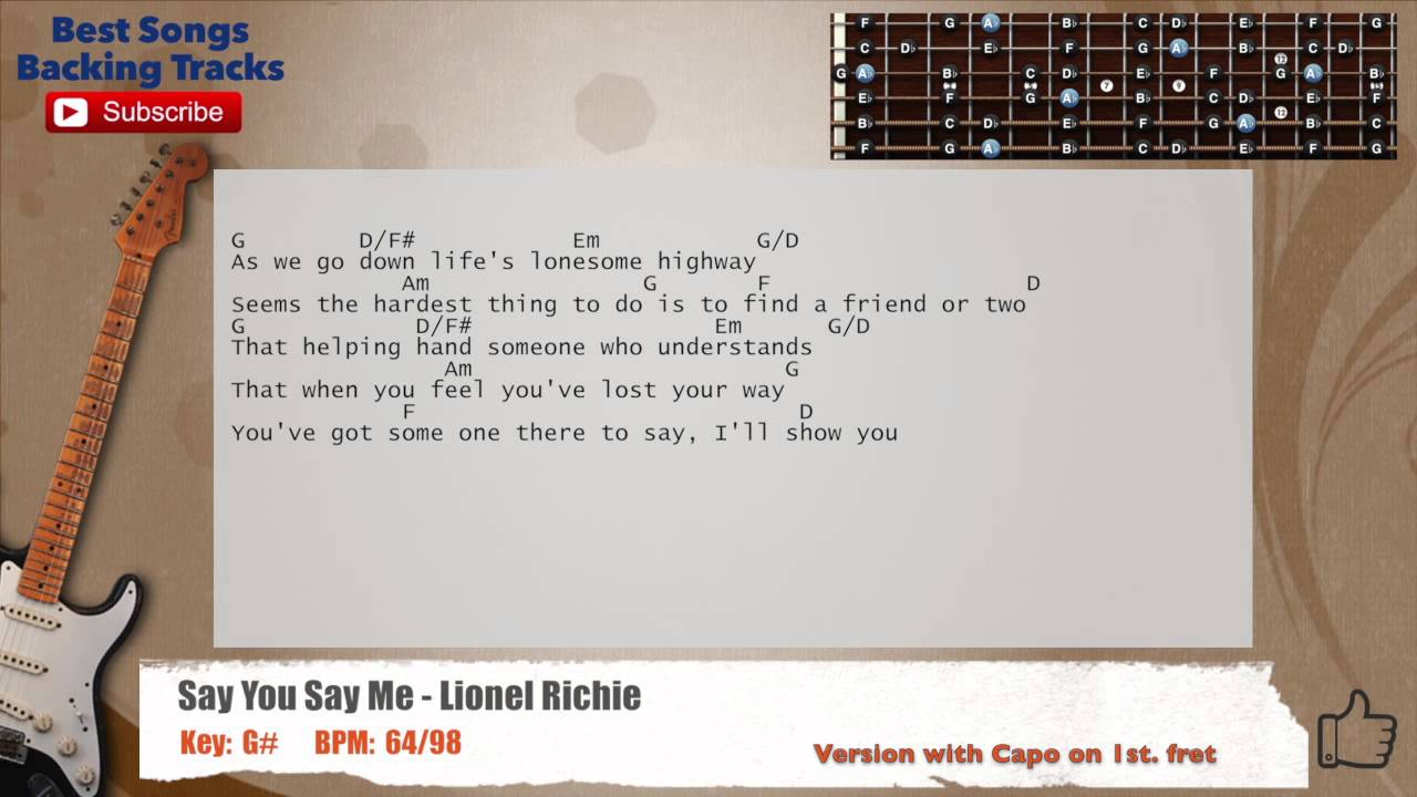 Say you say me lionel richie guitar backing track with scale say you say me lionel richie guitar backing track with scale chords and lyrics hexwebz Choice Image