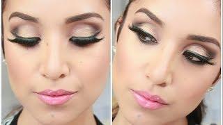 glam smokey brown eyes full face makeup tutorial