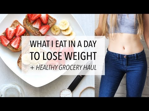 WHAT I EAT IN A DAY TO LOSE WEIGHT + HEALTHY GROCERY HAUL (D
