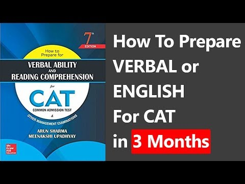 How To Prepare VERBAL/English for CAT Exam in 3 Months