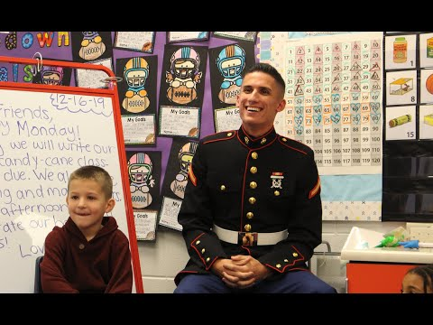 U.S. Marine surprises first-grade brothers at Briar Glen Elementary School