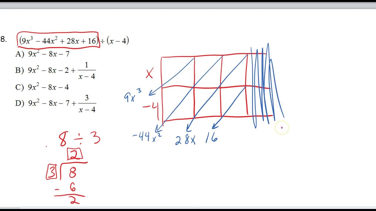 Dividing Polynomials with the area model - YouTube