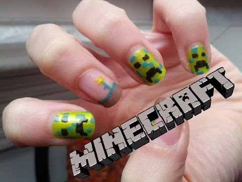 - Minecraft Nail Art - Nerdy Nails - YouTube