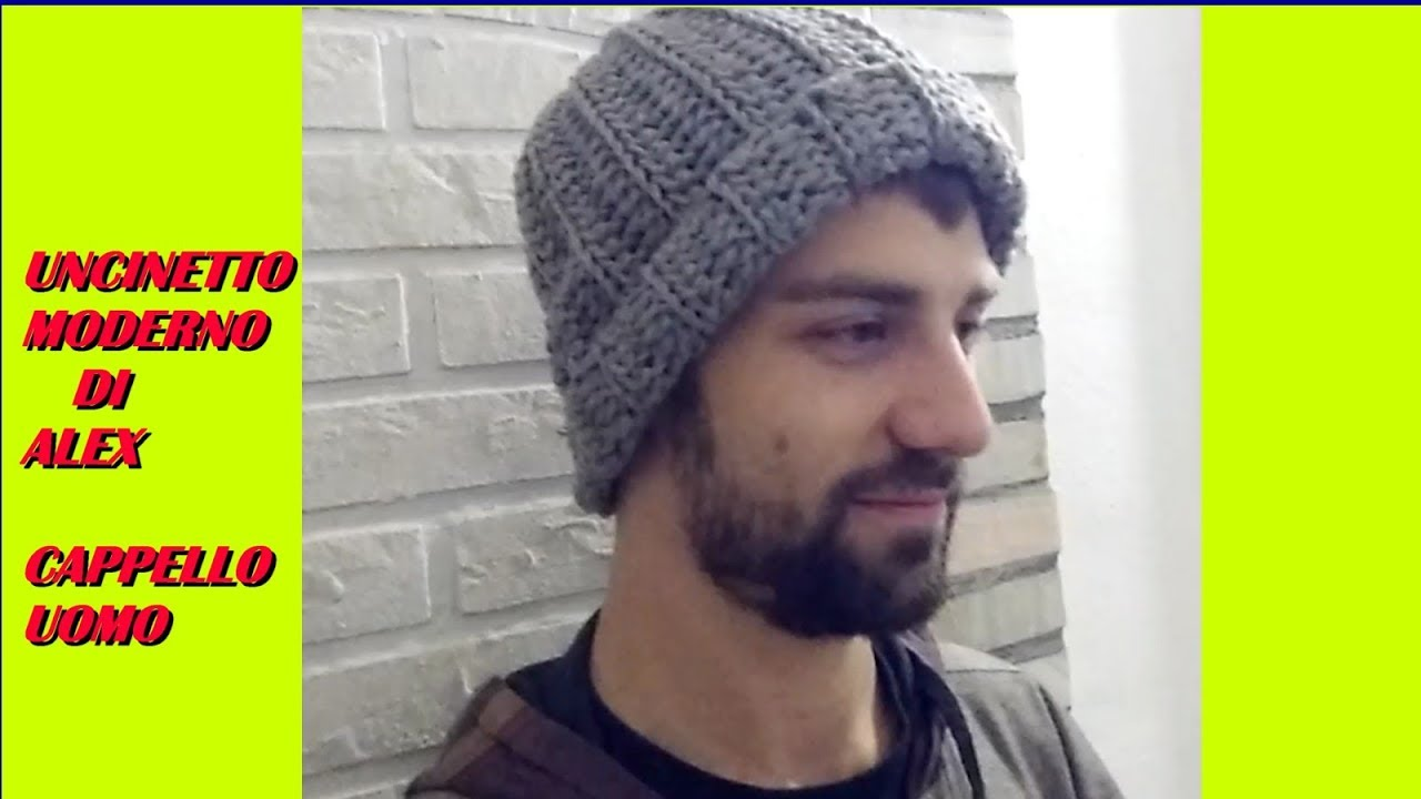 BERRETTO CAPPELLO UOMO uncinetto tutorial ogni taglia - YouTube dee8ffbae632