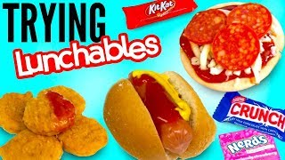 TRYING WEIRD LUNCHABLES! - Tiny Pizza, Candy, Chicken Nuggets, & Nachos Taste Test!