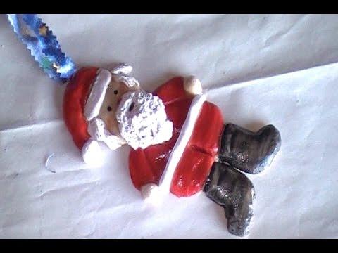 Easy Salt Dough Clay Santa Claus Ornament - YouTube
