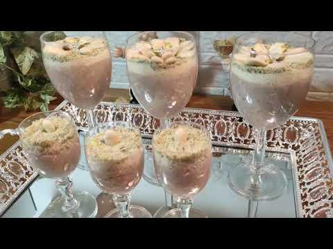 recette-crème-dessert-tunisienne-aux-noisettes-cuisine-maliya,-عصيدة-البوفريوة-بمقادير-مضبوطة-وناجحة