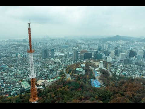 The journey to the observation deck of N Seoul Tower in Seoul, South Korea