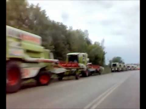 Claas combines next to road Penza region Russia