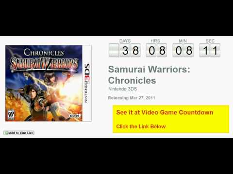 Samurai Warriors Chronicles Nintendo 3DS Countdown