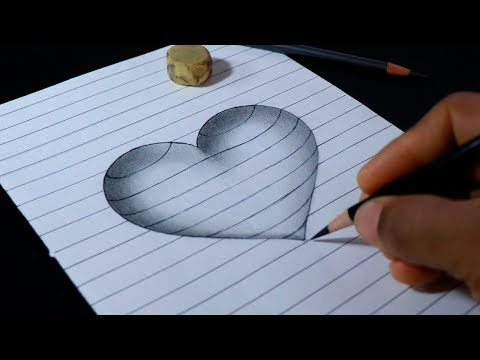How to Draw 3D Heart Print with lines - Videos for Kids