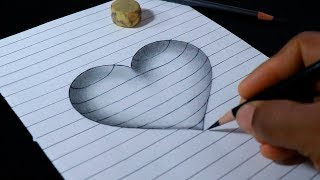 How to Draw 3D Heart Print with lines - Videos for Kids | Art and Craft TV