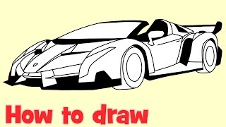 How to draw a car Lamborghini Veneno Roadster step by step drawing(How to draw a car Lamborghini Veneno Roadster step by step drawing., 2016-08-28T20:23:47.000Z)