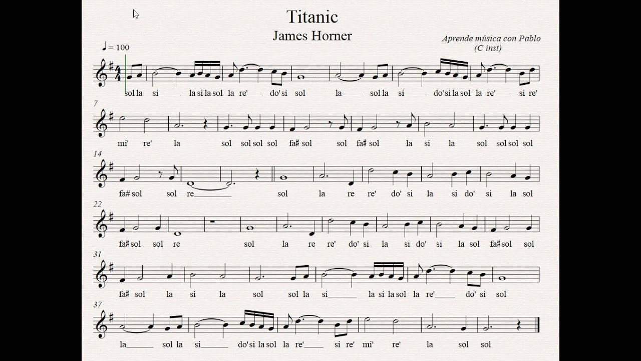 Titanic Flauta Violín Oboe Partitura Con Playback Youtube