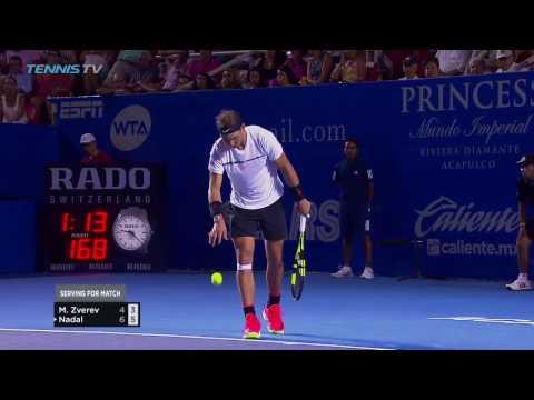 Amazing point Rafa Nadal & Mischa Zverev at 2017 Acapulco