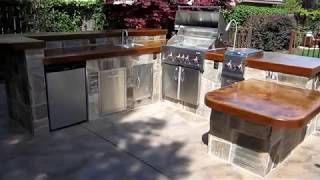 West Sacramento Outdoor Kitchen With Water Feature By Gpt Construction Masonry And Design.