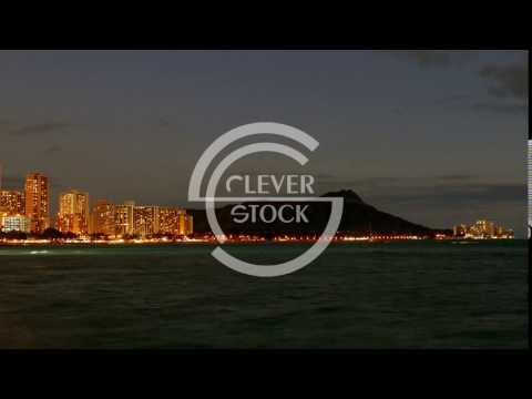 Mountain Illuminated Buildings Sea Coastline Footage Travel Honolulu Waikiki Beach Skyline Vacation
