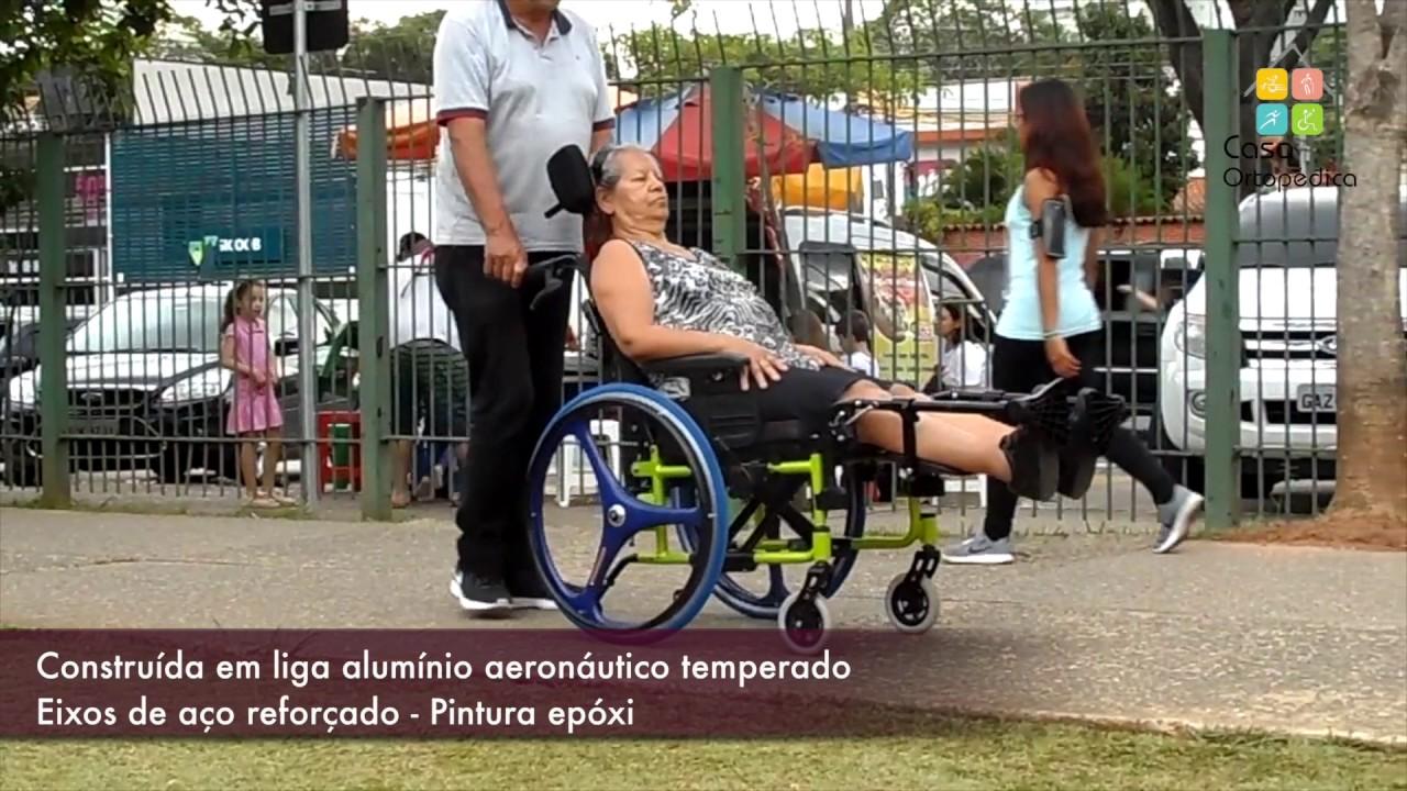 059b8f421 Cadeira de Rodas - Ortobras Avd Alumínio Reclinável - Casa Ortopédica -  YouTube