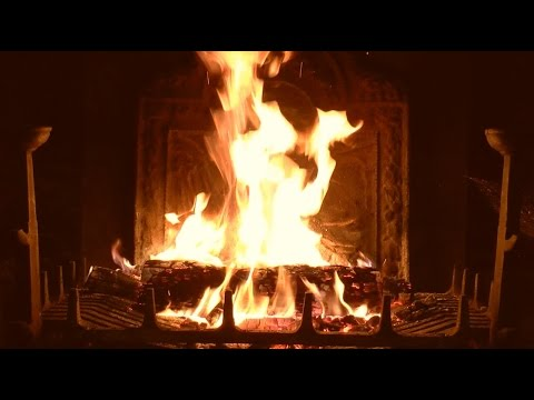 Bright Burning Yule Log Fireplace with Crackling Fire Sounds (HD)