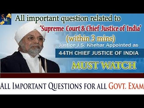 All Important Questions Related To The Supreme Court And Chief Justice Of India || For SSC | RAILWAY