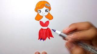 วาดรูปนางฟ้า บาบี้ ด้วยปากกาและสีเมจิก