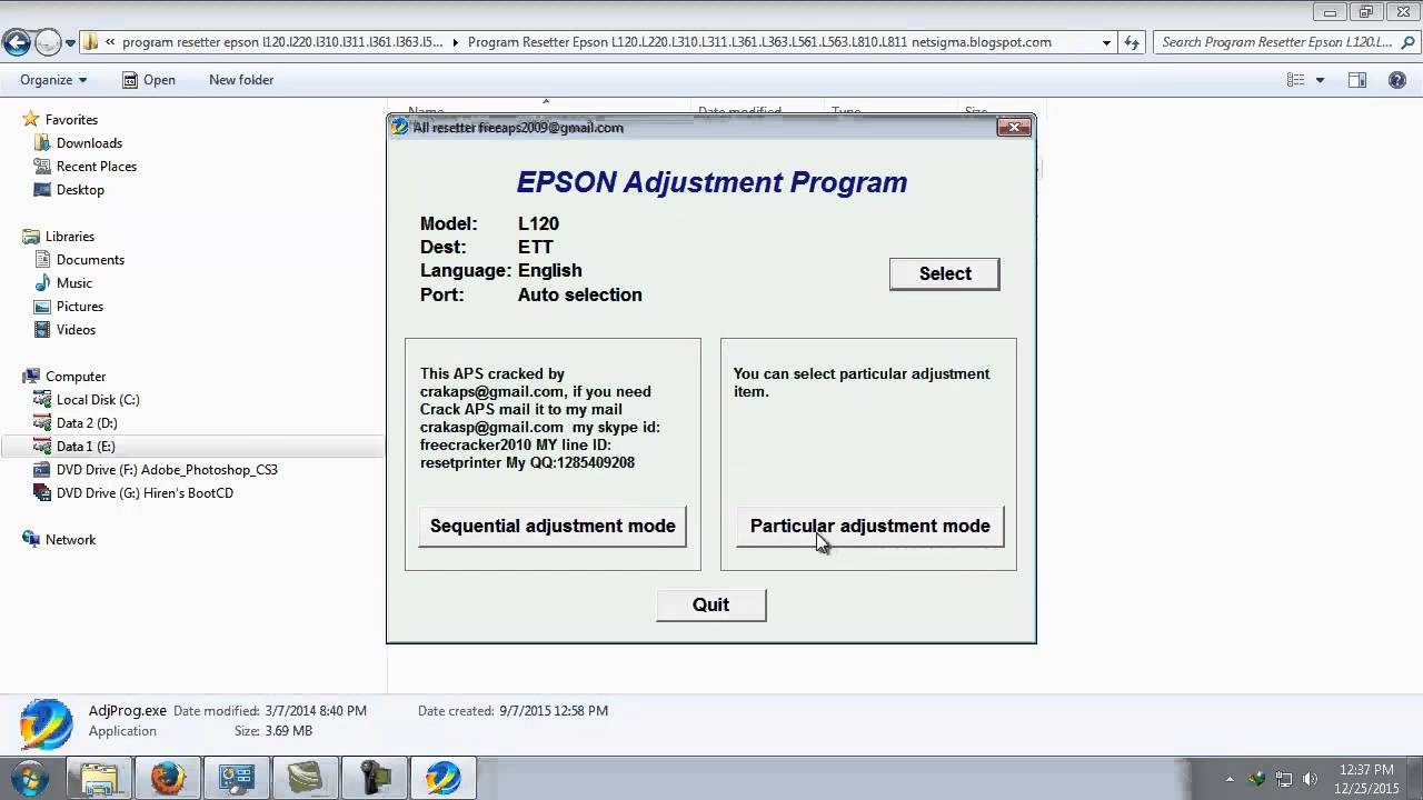 Epson adjustment program l220 free download