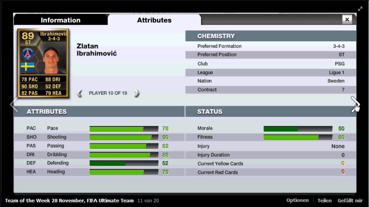 Fifa 13 Ultimate Team Team Of The Week 28 November Ibrahimovic