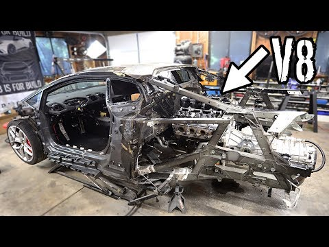 Mounting the V8 LS Engine and Manual Transmission In the Huracan!!