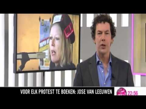 Beroepsdemonstrant Jose van Leeuwen slaat erop los (Pownews 24-02-2011)