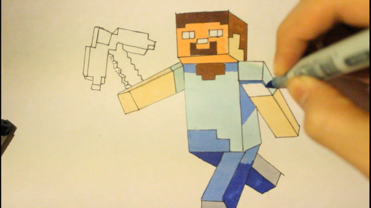 How To Draw Steve From Minecraftstep By Stepeasywith Sword  Youtube