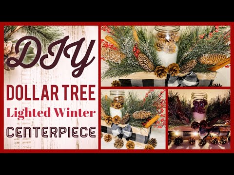 Dollar Tree DIY Farmhouse Winter Black & White Buffalo Check Lighted Centerpiece  - Craft Ideas 2019